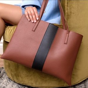 VINCE CAMUTO   Luck Tote Bag Brown Vegan Leather